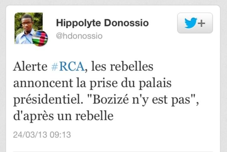 """Centrafrique : Prise du Palais Présidentiel, """"Bozizé n'y est pas"""""""