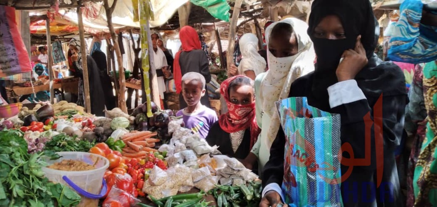 Des citoyens font leur achats dans un marché de N'Djamena, au Tchad. Illustration © Ben Kadabio/Alwihda Info