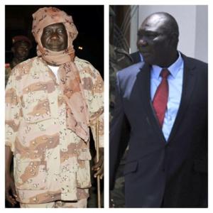 Djotodia en tenue militaire (gauche) et en costume (droite). Photomontage Alwihda