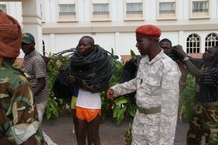 Un groupe de voleurs entre les mains des forces de l'ordre. Crédits photos : Diaspora media