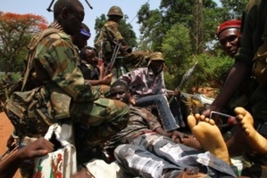 Des soldats de la Séléka à bord d'un véhicule. Diaspora Media
