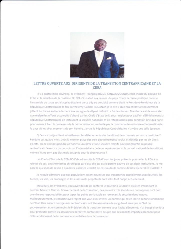Centrafrique : Le fils de Patassé interpelle la Séléka