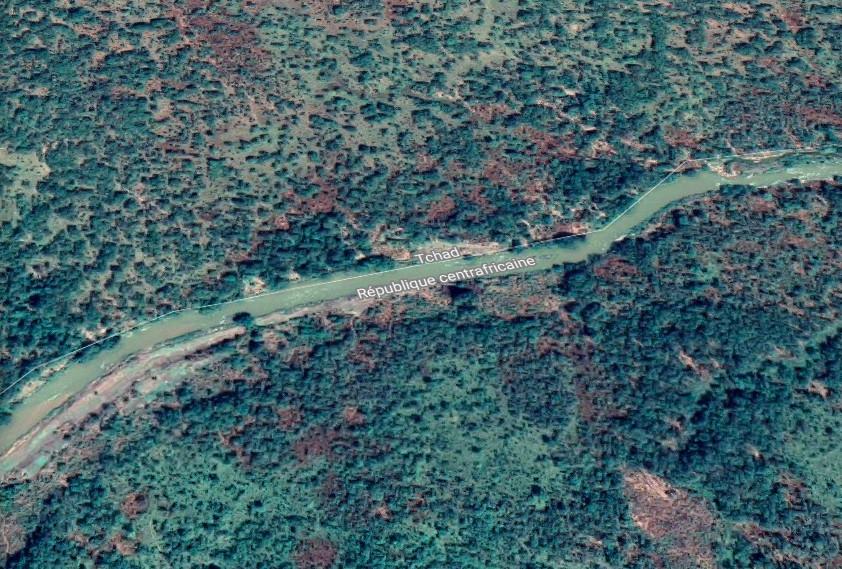 La frontière entre le Tchad et la Centrafrique. © Google Maps