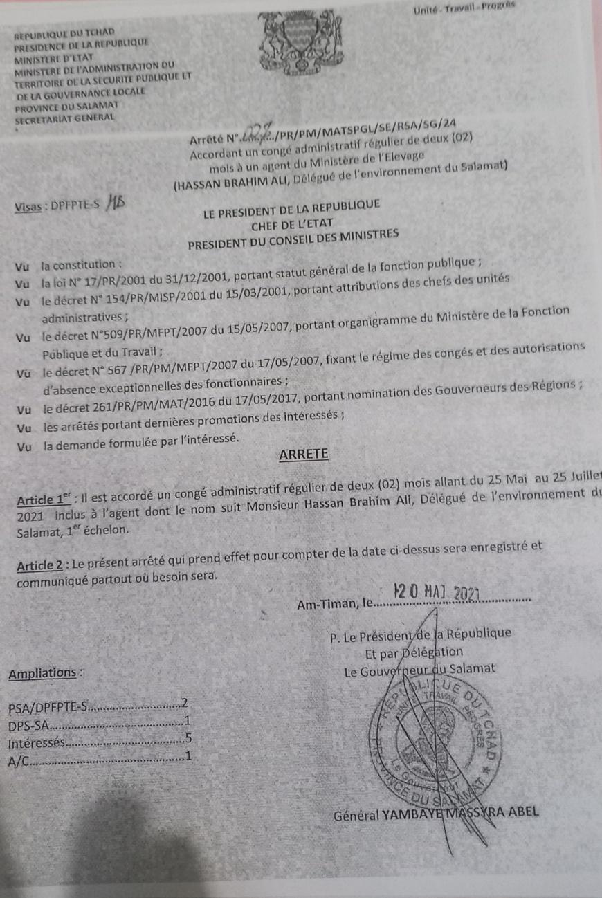 Tchad : suspendu de ses fonctions, le délégué de l'environnement du Salamat se défend