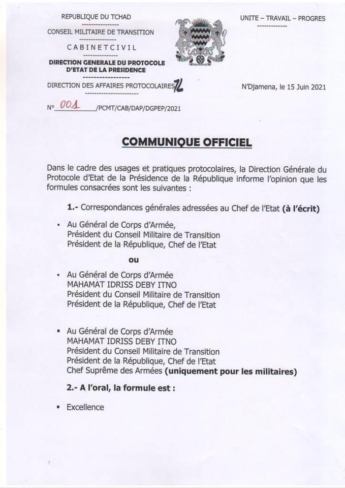 Tchad : le protocole d'État explique comment s'adresser au président du CMT
