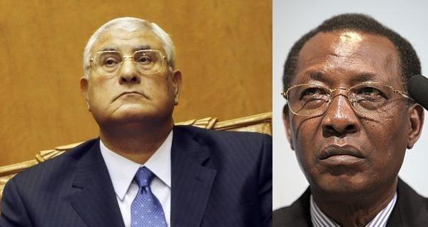 Adly Mansour (gauche) et Idriss Déby (droite). Crédits photos : Sources