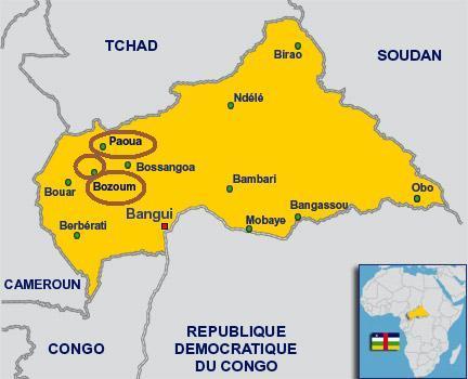 Carte de la Centrafrique. Crédits photos : Sources