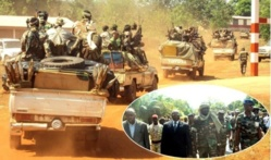 Colonne tchadienne à Damara. En médaillon, le chef de la FOMAC et l'ambassadeur du Tchad à Bangui. Crédits photo : acap-cf.info