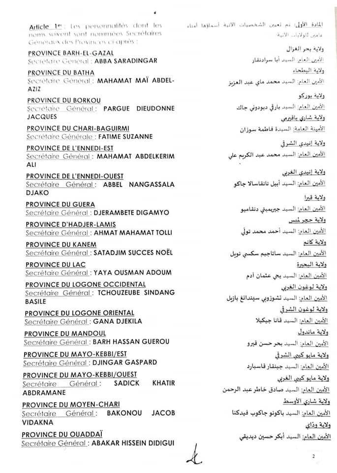 Tchad : nomination de 23 secrétaires généraux provinciaux