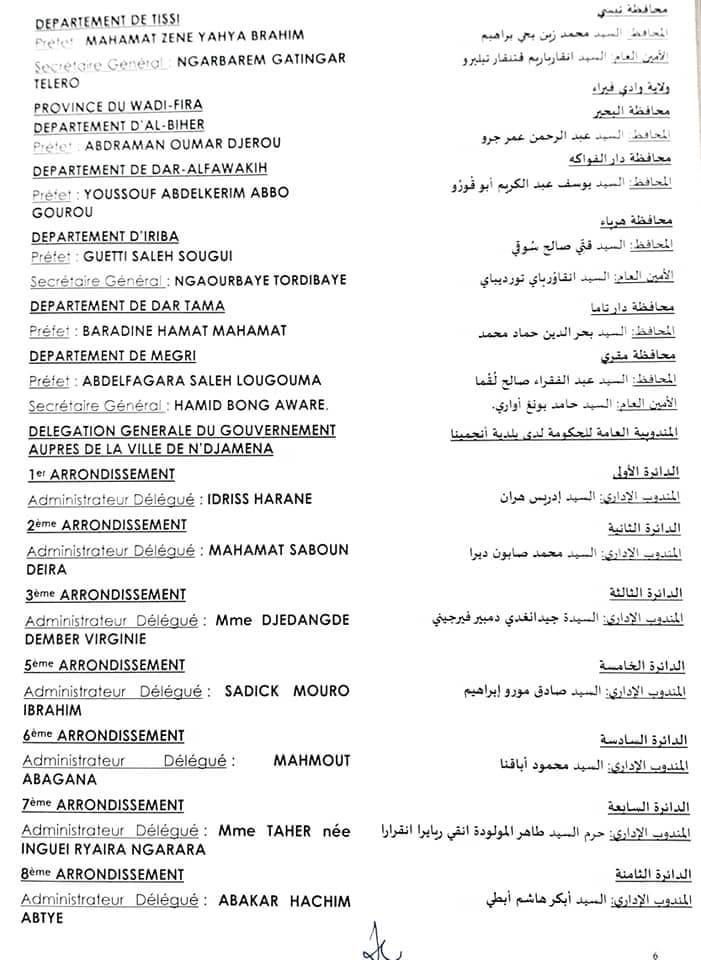 Tchad : le président du CMT nomme 52 préfets