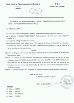 """Centrafrique : Le PDI victime d'un """"coup de canif"""""""