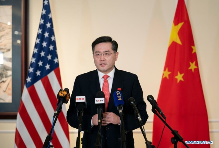 China's new Ambassador to the United States Qin Gang makes remarks to Chinese and U.S. media upon arrival in the United States on July 28, 2021. (Xinhua/Liu Jie)