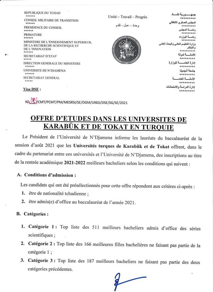 Tchad : deux universités turques offrent des bourses aux bacheliers