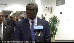 Le ministre des Affaires Etrangères, Moussa Faki s'exprime à l'ONU hier, peu après l'élection du Tchad au conseil de sécurité.