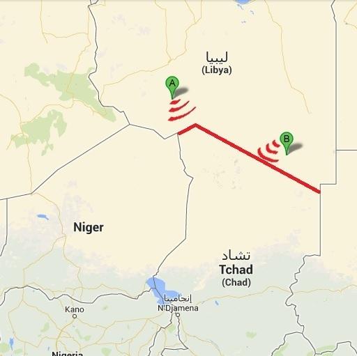 Les deux points de contrôles installés à Al Qatrun (A) et As Sarrhaqui (B), en Libye, permettant la surveillance avec le Tchad.