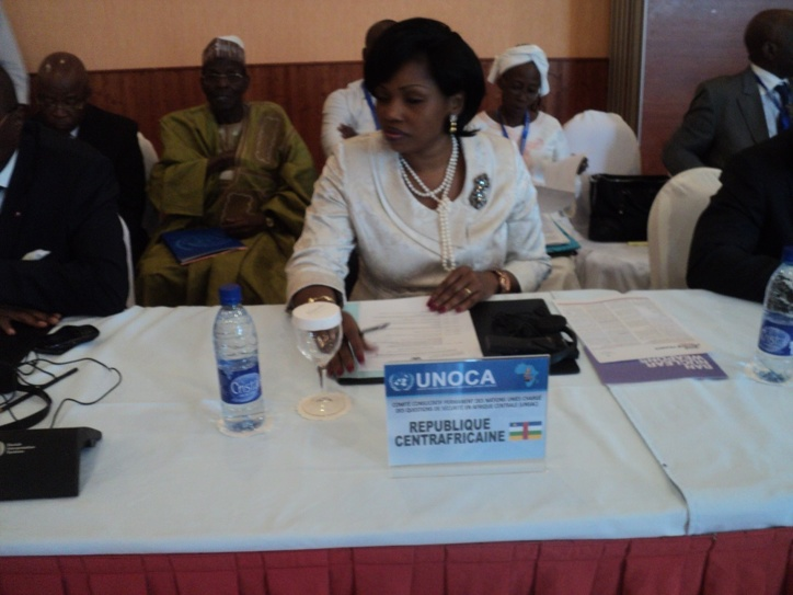 La ministre des Affaires Etrangères, de l'Intégration Africaine, de la Francophonie et des Centrafricains de l'Etranger de RCA, Léonie Banga-Bothy lors de la réunion ministérielle du Comité Consultatif Permanent des Nations unies chargé de sécurité en Afrique Centrale qui se déroule actuellement à N'djamena. Crédit photo : MR/Alwihda Info.
