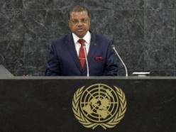 Nicolas Tiangaye, Premier ministre centrafricain, avait plaidé à la tribune de l'ONU pour une intervention de la communauté internationale, le 26 septembre 2013. REUTERS/Justin Lane
