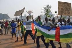 Des manifestants appelant à la démission de l'ex président de la Centrafrique, Michel Djotodia, le 10 janvier près de l'aéroport de Mpoko, à Bangui. | AFP/ERIC FEFERBERG