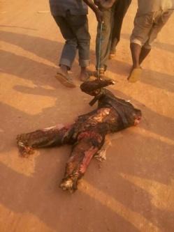 Des enfants trainent le corps d'un musulman, tué, brûlé et découpé à la machette. Crédit photo : Sources