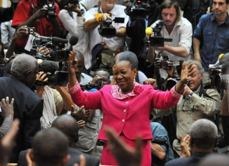 Catherine Samba-Panza, après son élection lundi 20 janvier. ISSOUF SANOGO / AFP