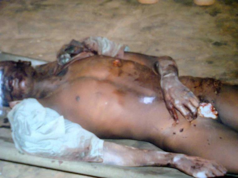 Le corps d'un musulman démembré en Centrafrique, par les Anti-Balaka. Crédit photo : Sources