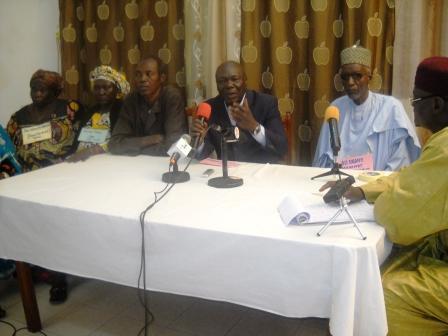 Le conseil national de concertation des producteurs ruraux du Tchad (CNCPRT) lors de la conférence de presse. Alwihda Info/M.R.