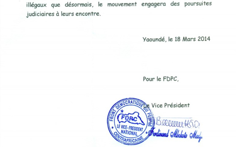 Centrafrique : Le FDPC lance un avertissement