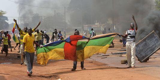 Des manifestants lors d'une manifestation contre l'opération Sangaris. Crédit photo : Sources