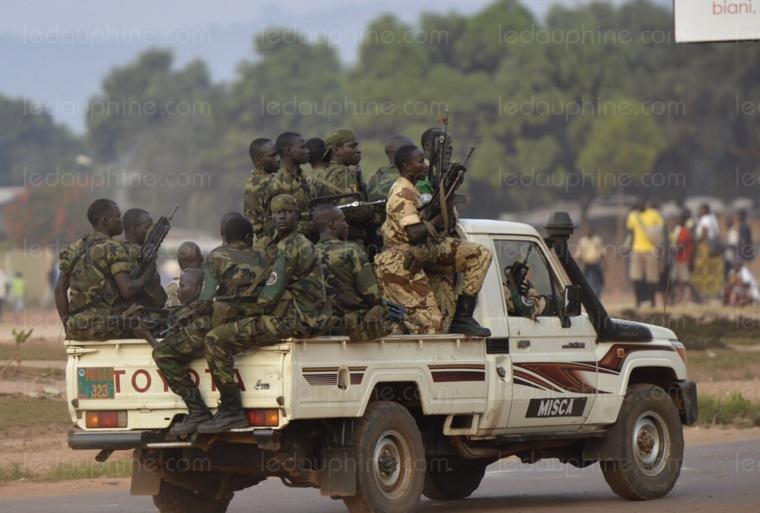 Des soldats tchadiens déployés à Bangui. AFP