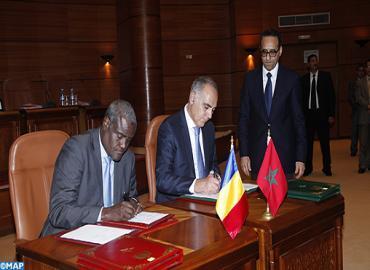 Signature d'accords de coopération entre le Tchad et la Maroc, ce vendredi. Photo : Maroc.ma