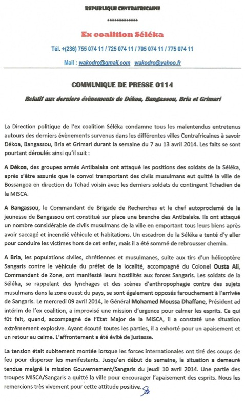 RCA : La Séléka avertit des conséquences de toute tentative de désarmement forcé