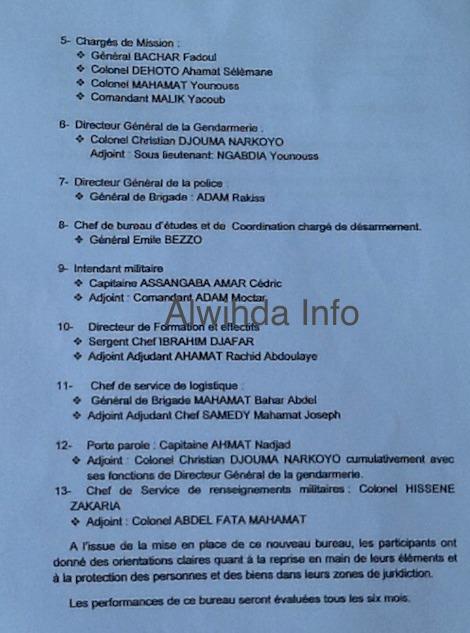 Centrafrique : Liste du bureau de la coordination provisoire de la Séléka