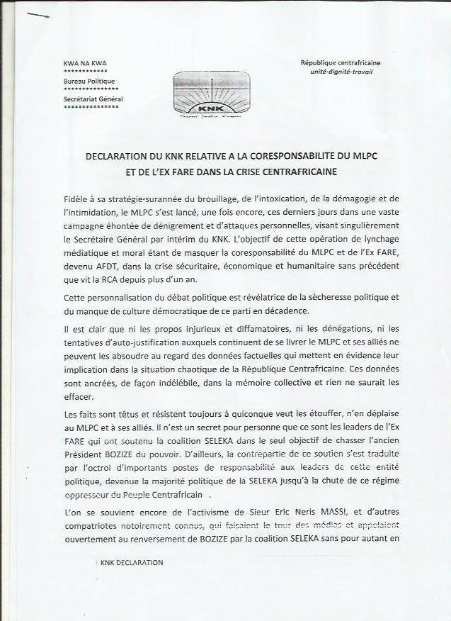 Centrafrique : Le Kwa Na Kwa désigne coresponsables le MPLC et l'ex-FARE de la crise