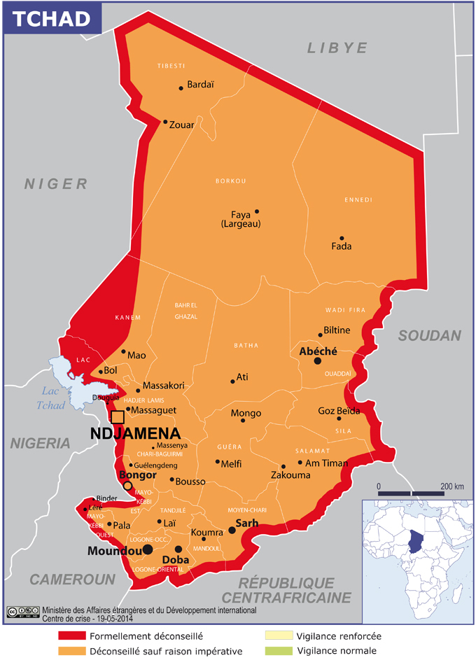 Zones frontalières du Tchad : Risque sécuritaire à niveau très élevé (France)