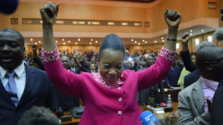 © AFP   Catherine Samba-Panza après son élection par le parlement provisoire