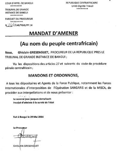 Affaire Demafouth : Coup d'Etat en Centrafrique