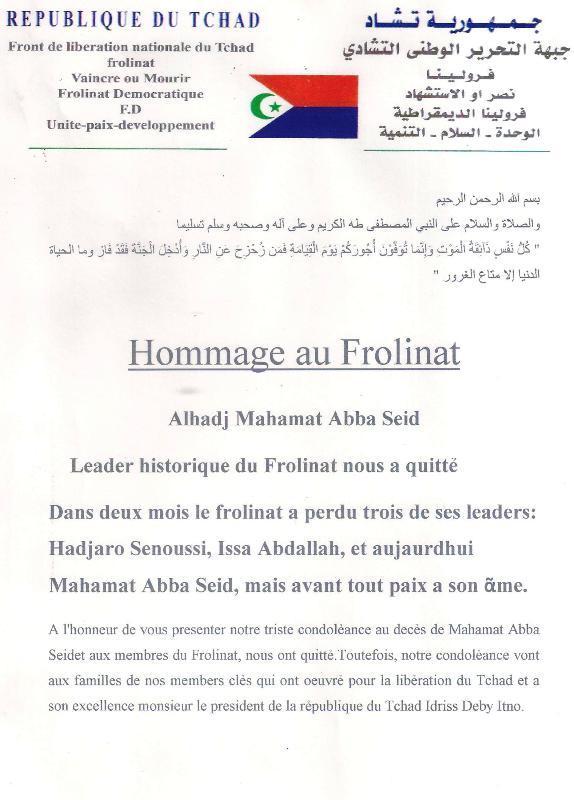 Le Tchad rend hommage à Mahamat Abba Seïd
