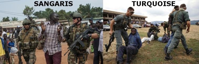L'opération Sangaris doit désarmer les milices…. comme l'opération Turquoise au Rwanda qui se termina par un génocide au Rwanda. Photo : Cotedivoireinfo.wordpress.com