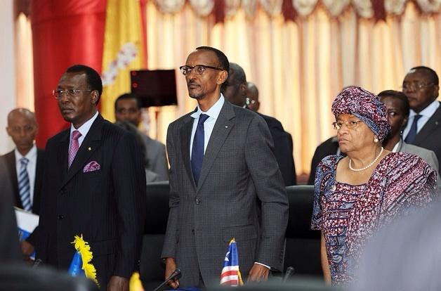 Le Président tchadien et ses homologues rwandais et libérien. Crédit photo : Sources