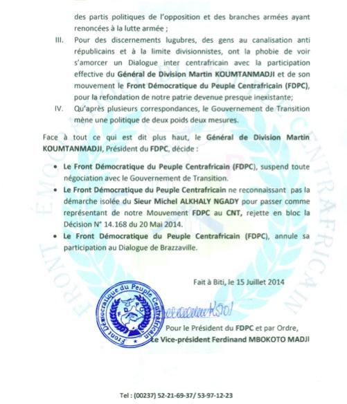 RCA : Le FDPC annule sa participation au Dialogue de Brazzaville et suspend toute négociation avec le Gouvernement