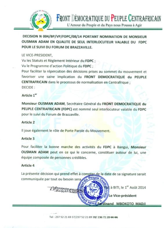 RCA : Le FDPC nomme un émissaire pour le suivi des décisions du Forum de Brazzaville
