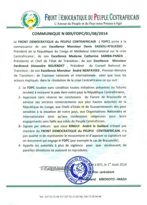 RCA : Le FDPC approuve les conclusions du forum de Brazzaville