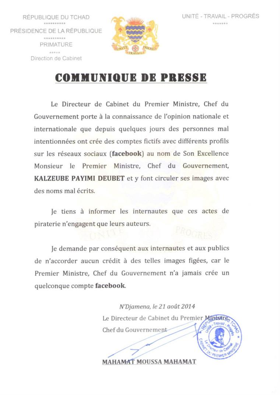 Faux compte facebook du Premier ministre tchadien : La Primature met en garde