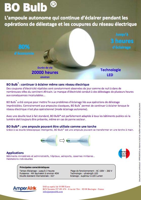 BO-Bulb®, une ampoule intelligente qui continue à éclairer pendant les opérations de délestage