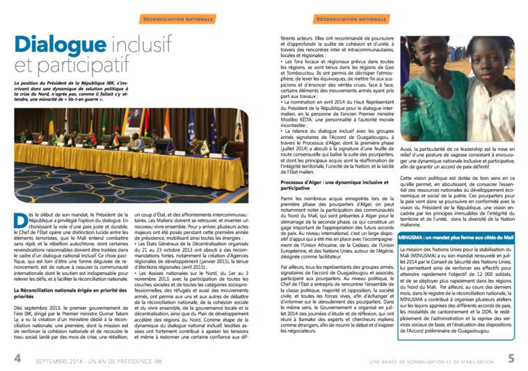 Mali/Un an de Présidence IBK : Une année de normalisation et de stabilisation