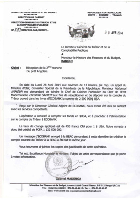 """Centrafrique : Affaire du """"Don Angolais"""", un document accablant pour le pouvoir"""