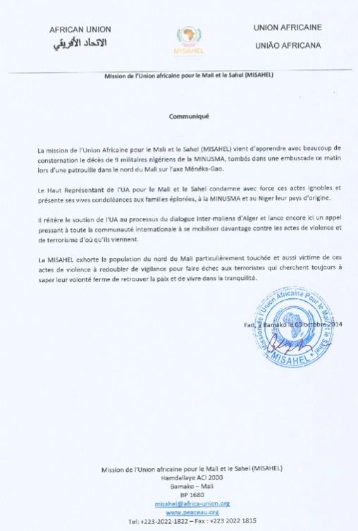 Communiqué de la MISAHEL suite au décès de 9 soldats nigériens de la MINUSMA dans une embuscade au nord du Mali