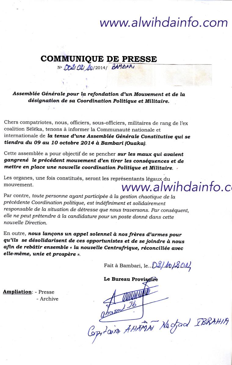 RCA : D'ex-Séléka annoncent une grande assemblée générale dans 4 jours à Bambari