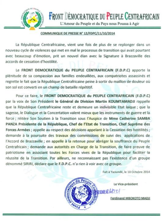 Centrafrique : Le groupe armé FDPC apporte son soutien à la Présidente CSP