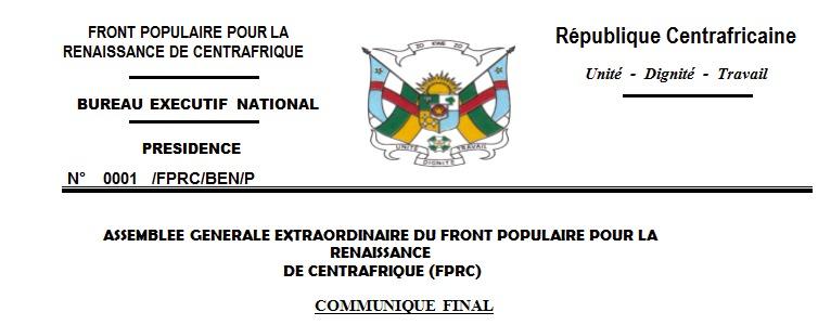 Centrafrique : Le FPRC accroit sa présence dans 10 régions militaires